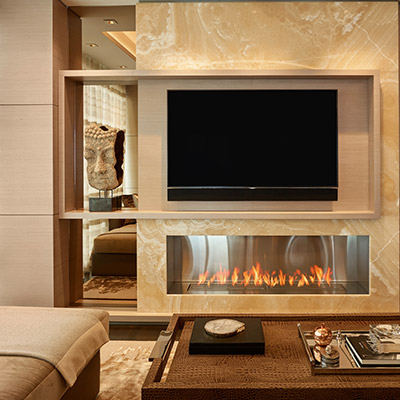 Beautiful Fireplace Under Flat Screen TV