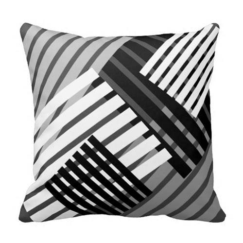 Black And White Abstract Stripe Throw Pillow
