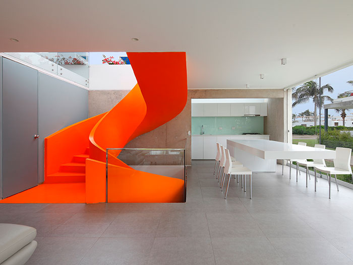 Casa Blanca Beautiful Orange Staircase In Dining Room