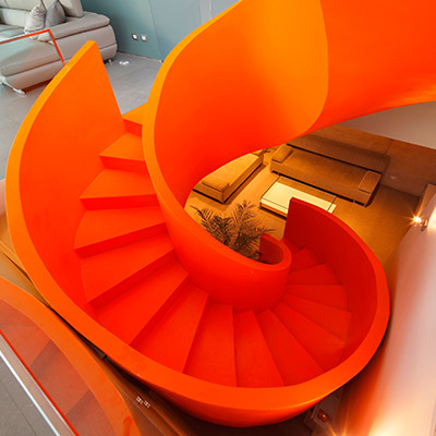 Casa Blanca Beautiful Orange Spiral Staircase
