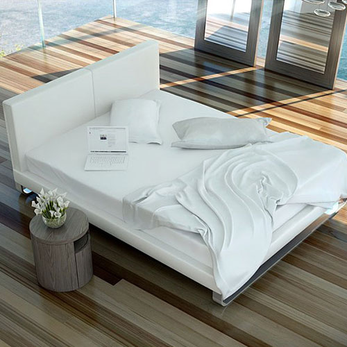 Chelsea Bed White Leather