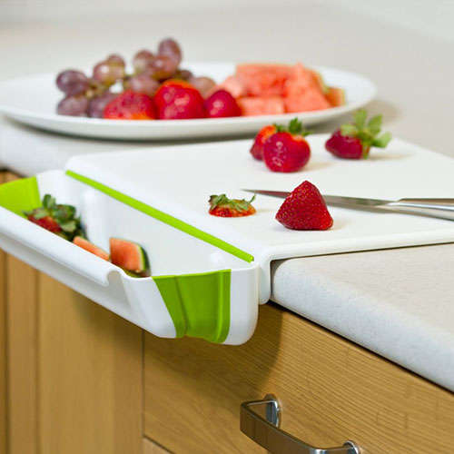 Counter Edge Cutting Board With Collapsible Scrap Bin Kitchen Utensil
