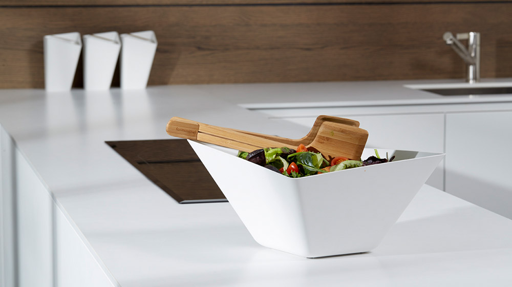 Forminimal salad bowl and servers by black+blum