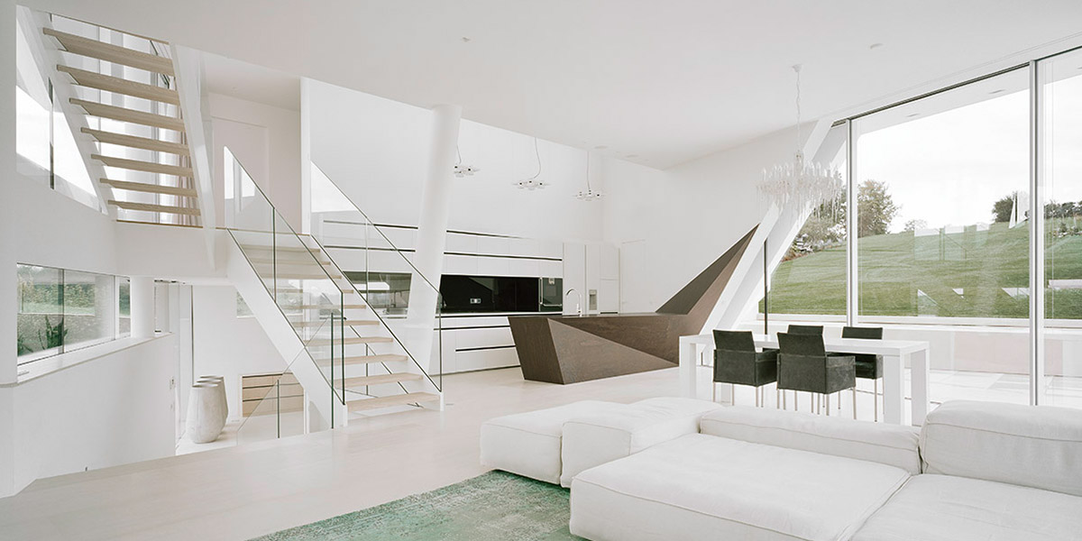 Freundorf residence futuristic all white house near vienna austria by project a01 architects - Futuristic home interior ...