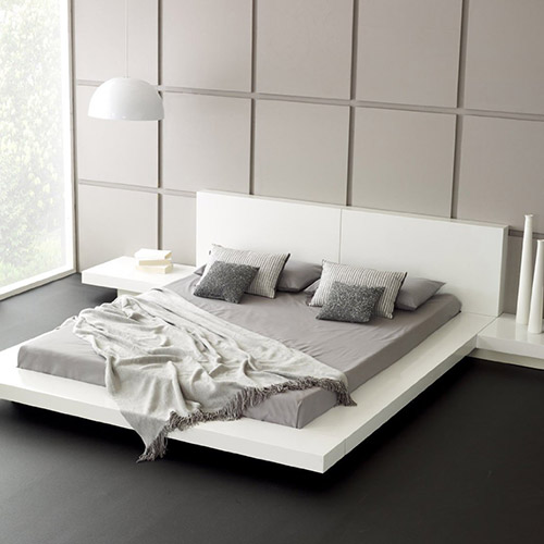 Fujian Modern Platform Bed And 2 Night Stands Queen
