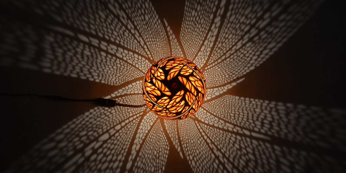 Handcrafted Gourd Lamp By Calabarte
