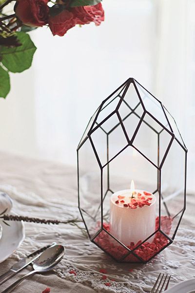 Handmade geometric glass candle holder gift idea
