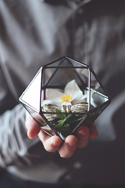 Handmade geometric glass terrarium gift idea