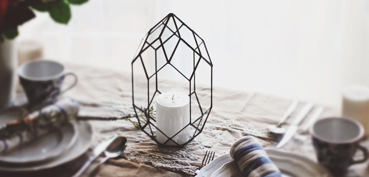Handmade glass candle holder geometric orchid planter
