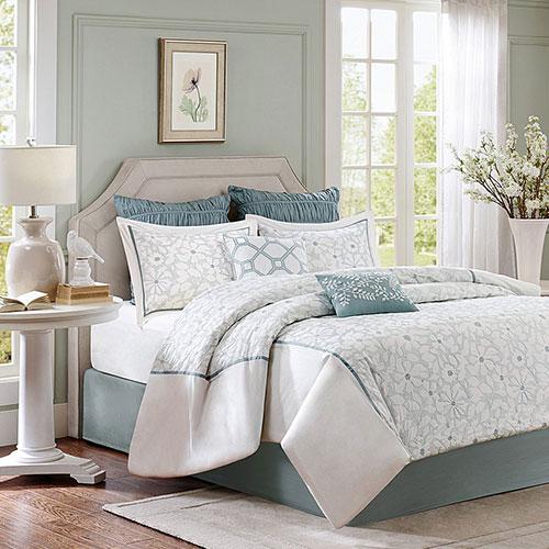Harbor House Flourish 4 Piece Comforter Set, Queen, White
