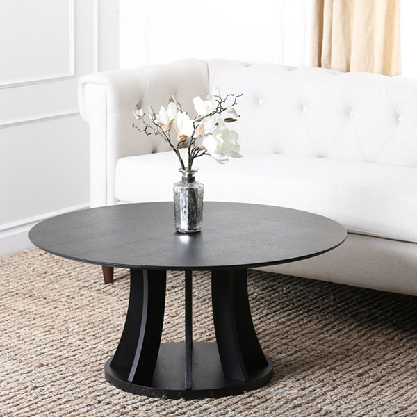 Kinlin Round Wood Coffee Table in Espresso