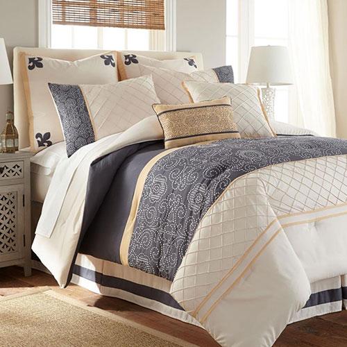 Lyra 8 Piece Comforter Set White Blue Queen
