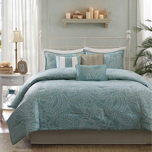 Madison Park Carmel 7 Piece Comforter Set - Blue - Queen