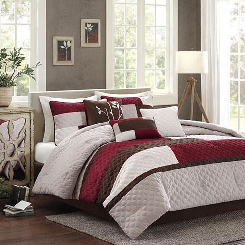 Madison Park Cooper 7 Piece Comforter Set Queen Red