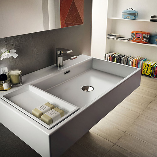 Mia Collection By Teuco - Rectangular Washbasin With Removable Vanity Shelf