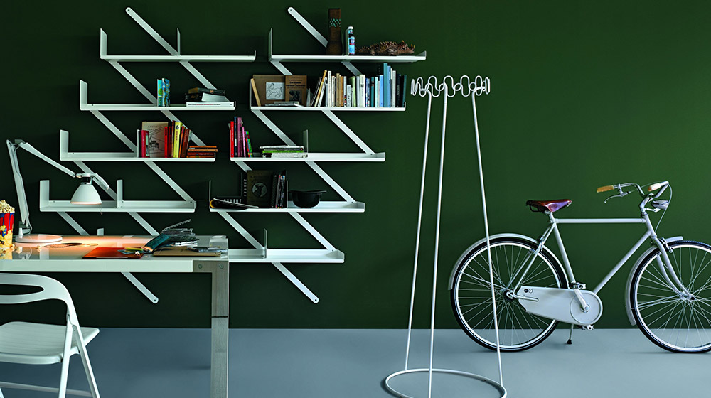 Minibooxx Wall-mounted steel bookcase by Desalto