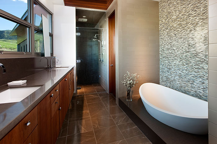 Modern Brown Bathroom Design In Wyoming