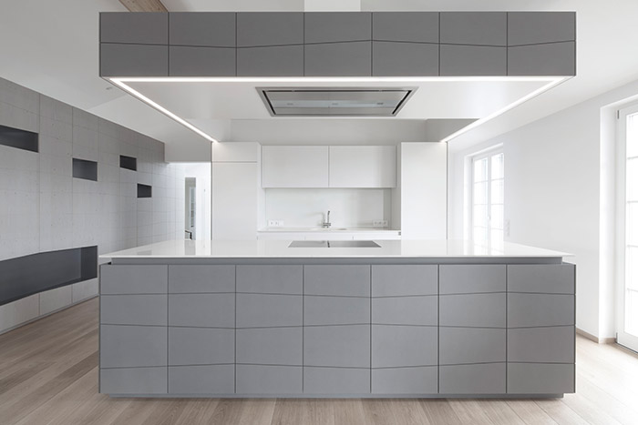 Modern Grey Kitchen In Penthouse