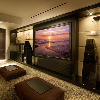 Modern Media Room In A Luxurious Apartment Located In Florida