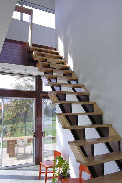 Modern Staircase Design Leading To The First Floor Of A Vacation House