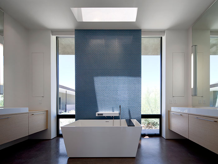 Modern White And Blue Bathroom Design