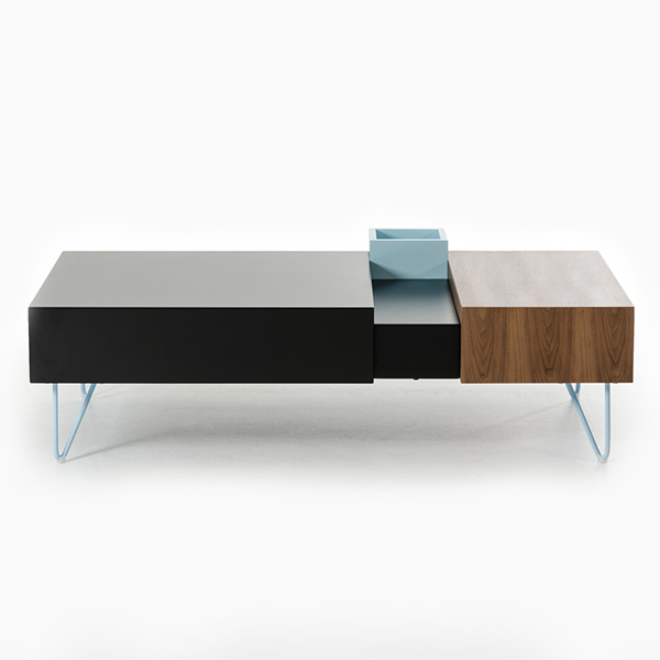 Modrest Aegean Modern Black and Walnut Coffee Table