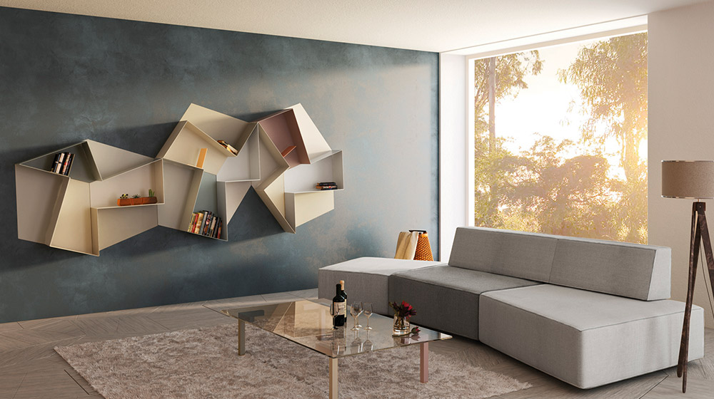 Slide Open wall-mounted bookcase by Lago