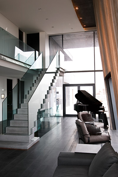 Steel Frame Staircase Covered With Icelandic Bluestone In Modern Vacation Home Iceland