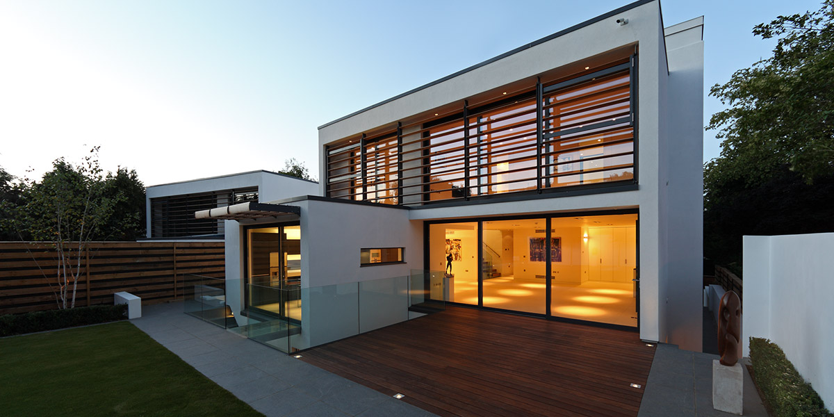 Greystones two identical contemporary houses in radlett for Modern house uk
