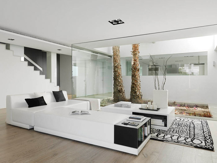 Stylish Black And White Living Room Design in Granada Spain