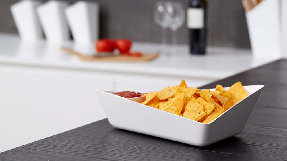 Stylish white chip and dip bowl by black+blum