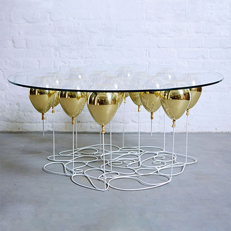 Up Balloon Table Gold Presentation by Duffy London