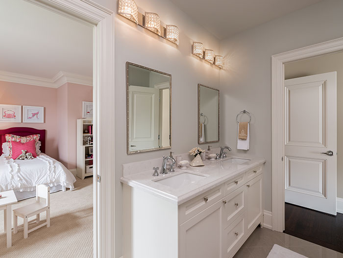 White Bathroom Design Next To Kids Room
