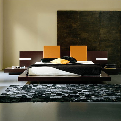 Win Floating Platform Bed in Wenge with Lights