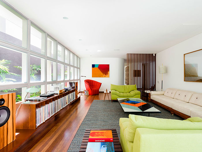 Colorful interior design inside modern AA House in Brazil by Pascali Semerdjian Architects