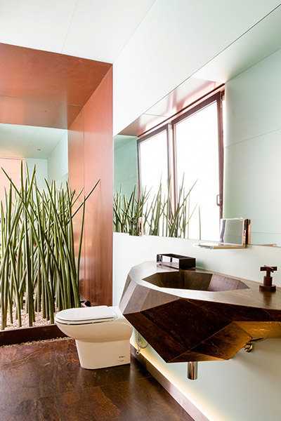 Custom furniture inside modern bathroom by Pascali Semerdjian Architects