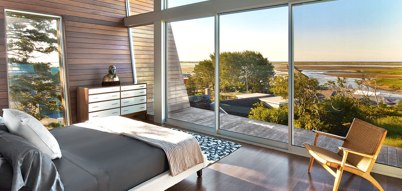 Amazing bedroom with stunning views in a contemporary beach house located in Provincetown, Massachusetts