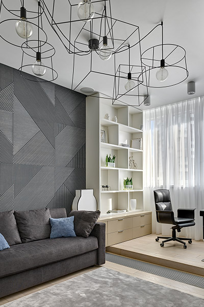 Amazing home office design including contemporary lighting fixture, modern furniture, playful textures used on the walls makes this space exude an air of sophistication - interior design by Alexandra Fedorova