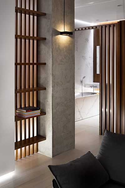 Stunning bathroom entrance in elegant Ukrainian apartment by NOTT Design