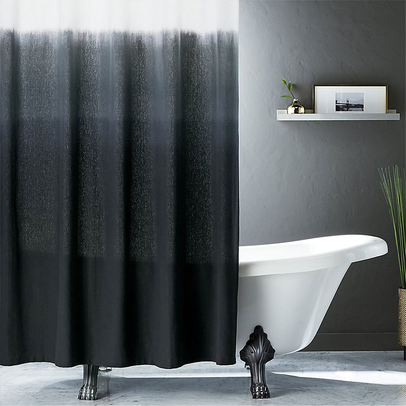 Shopping guide: Black, stylish shower curtain to upgrade your bathroom decor - Ombre Black Shower Curtain CB2
