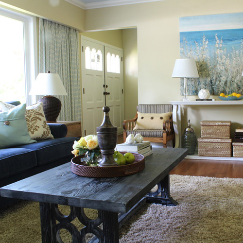 Maria Killam Blue and Yellow Transitional Living Room