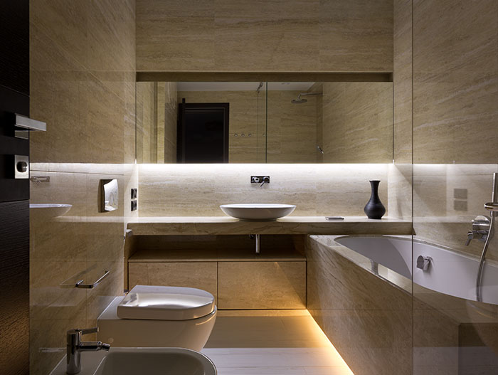 Spectacular contemporary bathroom design in luxury home in Ukraine