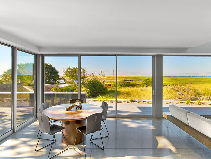 Stunning interior of a contemporary beach house - the home is located in Cape Cod, a few steps away from a masterwork of 20th century architecture