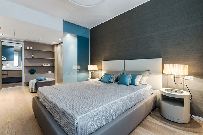 Contemporary bedroom design idea in a luxurious Monaco apartment where guests can relax - summer retreat designed by NG-Studio
