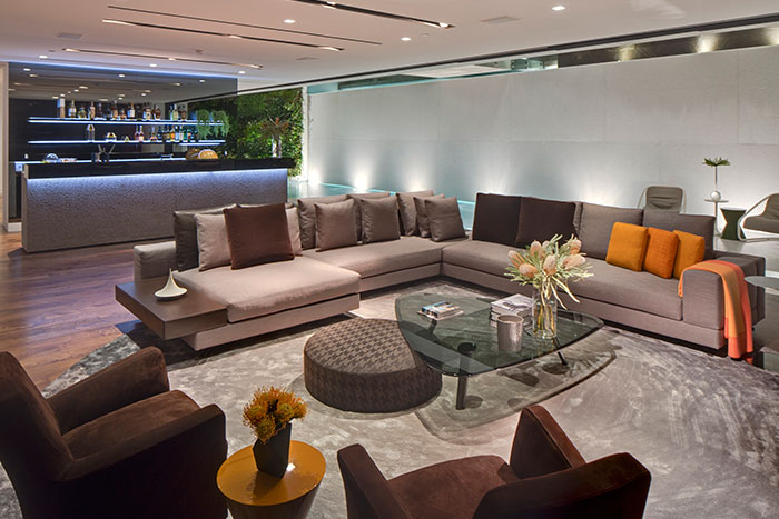 Contemporary living room in amazing Tanager Way mansion by McClean Design