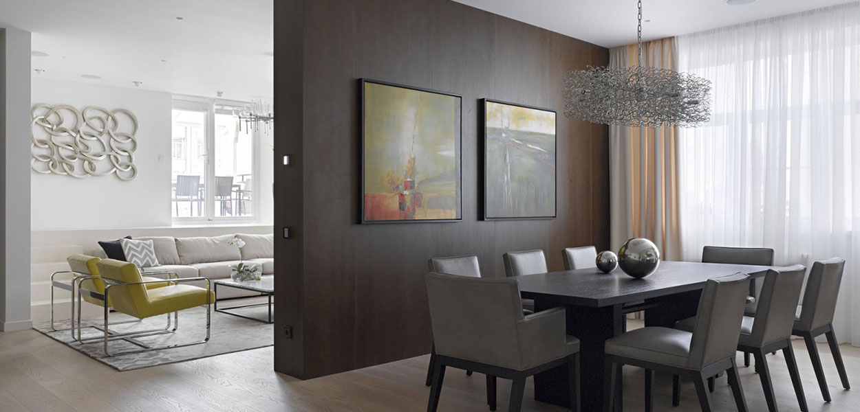 Comtemporary living room in Moscow apartment by Alexandra Fedorova