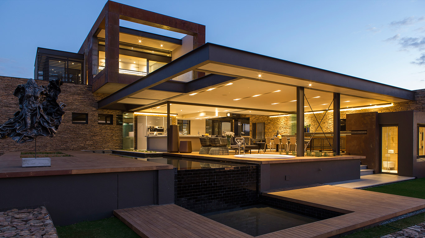 This contemporary mansion in south africa blends luxury for Home architecture