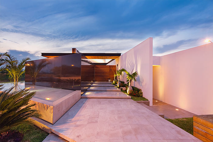 Entrance to modern lakeside house in Yucatan Mexico