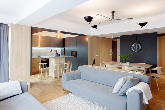 Stylish, functional apartment in Bucharest with open space kitchen and living area - by Rosu-Ciocodeica