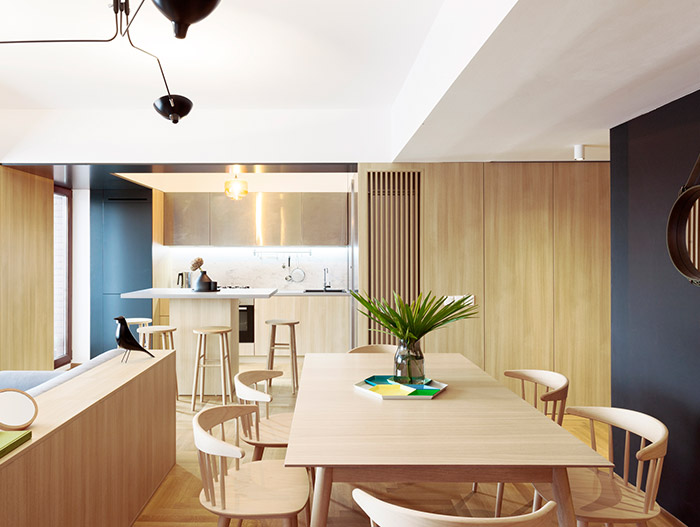 Functional apartment with stylish open space interior in Bucharest, Romania
